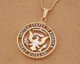 "American Eagle Pendant, United States Kennedy Half Dollar Pendant, United States Coin Jewelry, 1 1/4"" diameter, ( # 319W )"