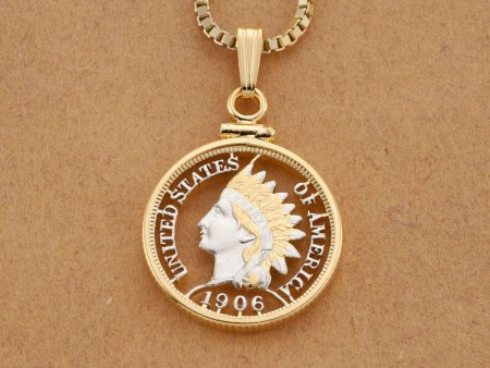 "American Indian Pendant and Necklace, Hand Cut United States Indian Head Penny, American Indian Pendant , 7/8 "" in Diameter, ( # 500 )"