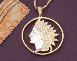 American Indian Pendant, Indian Head Pendant, Native American Pendant, Indian Pendant, World Coin Jewelry, Coin Jewelry, ( # 790D )