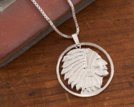 American Indian Pendant, Silver Indian Necklace, Indian Jewelry, Handmade Coin Jewelry, Mens Necklace, Sterling Silver Jewelry, ( # 682S )