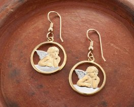 "Angel Earrings, Religious Jewelry, Angel Jewelry, Hand Cut Religious Angel Medallions,3/4"" in Diameter, ( # 916E )"