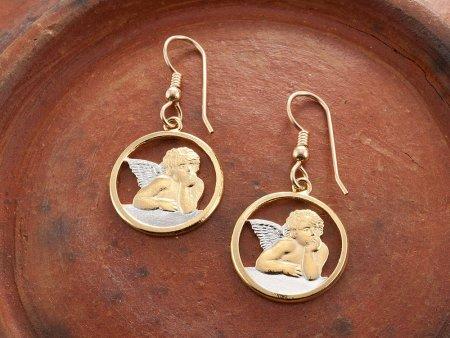 "Angel Earrings, Religious Jewelry, Angel Jewelry, Hand Cut Religious Angel Medallions,3/4"" in Diameter, ( # 916E )"