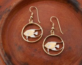 "Angel Fish Earrings, Hand cut Bermuda five cent Earrings, Bermuda Coin Jewelry, 3/4"" in diameter, ( # 36E )"