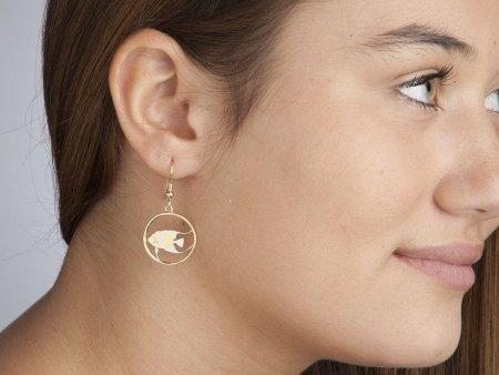 "Angel Fish Earrings, Hand cut Bermuda five cent Earrings, Bermuda Coin Jewelry, 3/4"" in diameter, ( # 36E )"