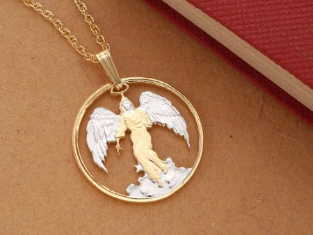 "Angel Pendant and Necklace, Hand Cut Religious Medallion, Angel Jewelry, Religious Jewelry, 1"" in Diameter, ( # 836 )"