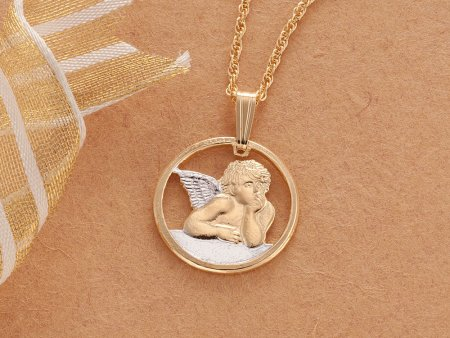 """Angel Pendant and Necklace, Michaelangelos Angel Medallion Hand Cut, 14 Karat Gold and Rhodium Plated, 5/8"""" in Diameter, ( # 916 )"""