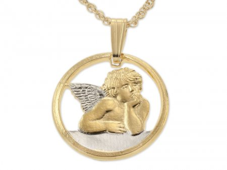 "Angel Pendant and Necklace, Michaelangelos Angel Medallion Hand Cut, 14 Karat Gold and Rhodium Plated, 5/8"" in Diameter, ( # 916 )"