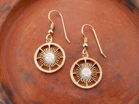 "Argentina Sun Face Earrings, Argentina Sun Face Coins Hand Cut, 14 Karat Gold and Rhodium Plated, 5/8"" in Diameter, ( # 593BE )"