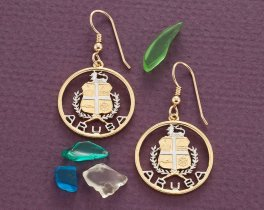 "Aruba Coin Earrings, Aruba Commemorative Coin Hand Cut, 14 Karat Gold and Rhodium plated, 14 K G/F Ear Wires, 3/4"" in Diameter, ( # 809E )"