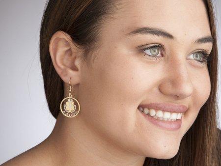 "Aruba Coin Earrings, Aruba Commemorative Coin Hand Cut, 14 Karat Gold and Rhodium plated, 14 K G/F Ear Wires, 3/4"" in Diameter, ( # 809E )"