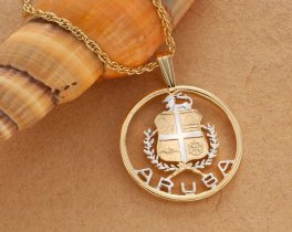 "Aruba Pendant & Necklace, Hand Cut Coin from Aruba Collectors issue, 14 Karat Gold and Rhodium Plated, 1"" in Diameter (#809)"