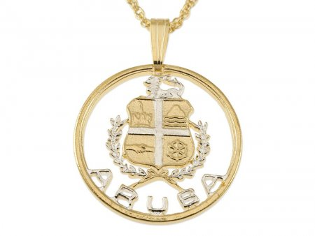"""Aruba Pendant & Necklace, Hand Cut Coin from Aruba Collectors issue, 14 Karat Gold and Rhodium Plated, 1"""" in Diameter (#809)"""