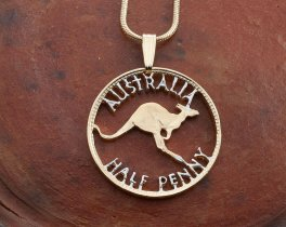 "Australian Kangaroo Pendant and Necklace, Australian Coin Jewelry,  Coin Jewelry, Hand Cut Coins, Ethnic Jewelry, 1 "" in Diameter (#8)"