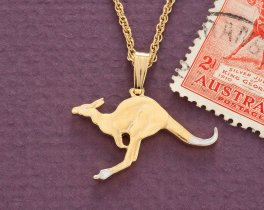 "Australian Kangaroo Pendant and Necklace, Hand Cut Australian One Half Penny, 1"" in Diameter ( # 7 )"