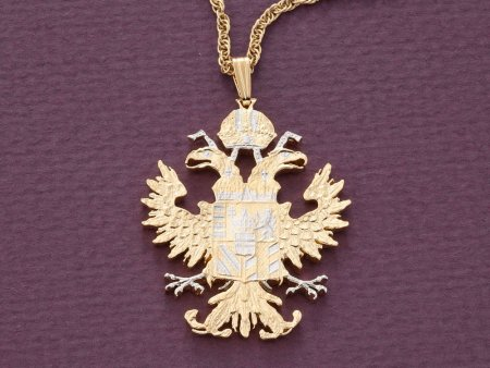 "Austrian Eagle Pendant and Necklace, Austrian Coin Jewelry, Eagle Pendant, Ethnic Jewelry, Copin Jewelry,  1 1/2 "" in Lenghth ( # 908 )"