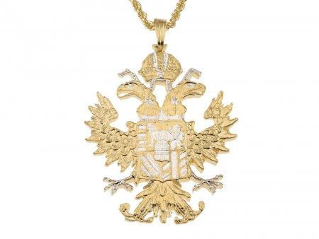 """Austrian Eagle Pendant and Necklace, Austrian Coin Jewelry, Eagle Pendant, Ethnic Jewelry, Copin Jewelry,  1 1/2 """" in Lenghth ( # 908 )"""