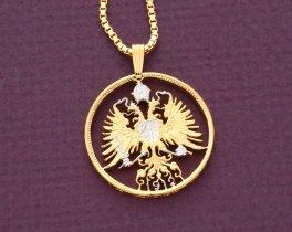 "Austrian Pendant and Necklace, Austrian Eagle Necklace, Hapsburgh Eagle Pendant, Eagle Necklace, Eagle Jewelry, 1"" in diameter ( #9 )"