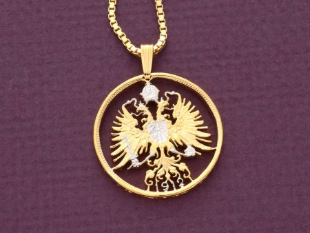 "Austrian Pendant and Necklace, Austrian Eagle Necklace, Hapsburgh Eagle Pendant, Eagle Necklace, Eagle Jewelry, 1"" in diameter ( #9 )"