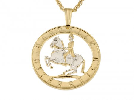 "Austrian Pendant and Necklace, Lipizzaner Horse Pendant, Austrian Coin Jewelry, Horse Pendant, Equestrian Jewelry, 3/4"" in Diameter  (#12)"