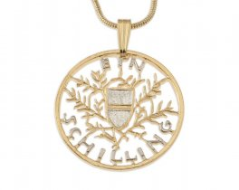 "Austrian Royal Crest Pendant and Necklace, Austrian One Shilling Hand Cut, 14 Karat Gold and Rhodium Plated,1 "" in Diameter ( # 909 )"