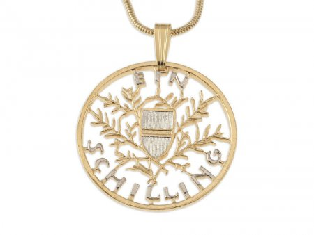 """Austrian Royal Crest Pendant and Necklace, Austrian One Shilling Hand Cut, 14 Karat Gold and Rhodium Plated,1 """" in Diameter ( # 909 )"""