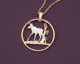"Baby Moose Pendant, Moose Pendant, Moose Jewelry, Canada Coin Jewelry, World Coin Jewelry, 1"" diameter, ( # 533D )"