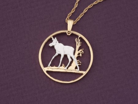 """Baby Moose Pendant, Moose Pendant, Moose Jewelry, Canada Coin Jewelry, World Coin Jewelry, 1"""" diameter, ( # 533D )"""