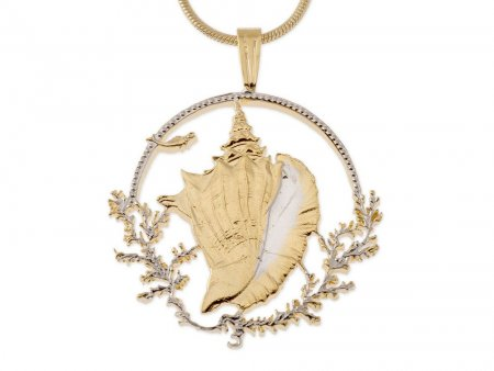 """Bahamas Conch Shell Pendant and Necklace, Bahamas Coin Jewelry, Ethnic Jewelry, Coin Jewelry, Cut Coin Jewelry, 1"""" in Diameter ( #19B )"""