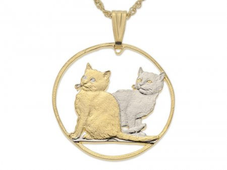 """Balilese Cats Pendant and Necklace, Isle Of Man Cat Coin Hand Cut, 14 Karat Gold and Rhodium Plated, 1 3/8"""" in Diameter, ( # 847 )"""