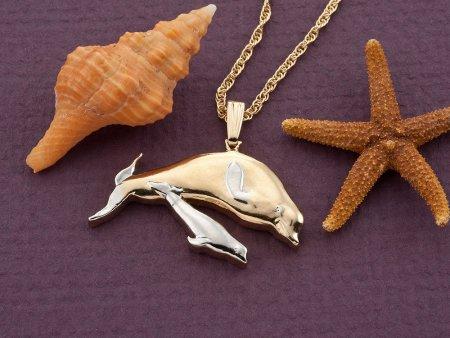 "Beluga Whale Pendant, Beluga Whale Jewelry, Whale Jewelry, Sea Life Jewelry, 1"" in length, ( # 553CD )"