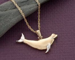 "Beluga Whale Pendant, Beluga Whale Necklace. Hand Cut Whale Jewelry, Sea Life Jewelry, 1"" in length, ( # 553BD )"