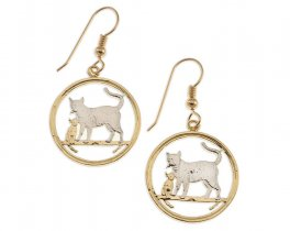 "Bengal Cat Earrings, Isle Of Man Cat Coin Hand Cut, 14 Karat Gold and Rhodium PLated, 14K G/F Wires, 7/8"" in Diameter, ( # 744E )"