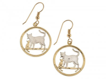 """Bengal Cat Earrings, Isle Of Man Cat Coin Hand Cut, 14 Karat Gold and Rhodium PLated, 14K G/F Wires, 7/8"""" in Diameter, ( # 744E )"""