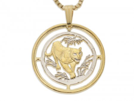 "Bengal Tiger Pendant and Necklace, Russian 10 Rubles Tiger coin Hand Cut, 14 Karat Gold and Rhodium Plated, 1"" in Diameter, ( # 673 )"