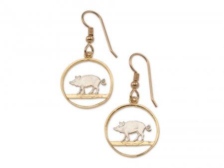 "Bermuda Hog Penny Earrings, Bermuda One Cent Hog Penny Coin Hand Cut, 14 Karat Gold and Rhodium Plated, 3/4"" in Diameter, ( # 34E )"
