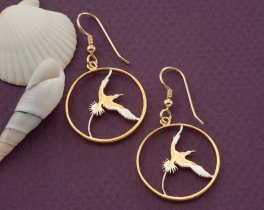 Bermuda Long Tail Earrings, Bermuda Earrings, Bermuda Coin Jewelry, Tropical Bird Earrings, Earrings For Woman, Coin Earrings, ( # 38E )