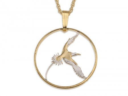 "Bermuda Longtail Bird Pendant & Necklace, Bermuda 25 Cents Hand Cut Coin, 14K and Rhodium Plated, .80"" in Diameter , ( # 38 )"