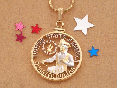 Bi-Centennial Quarter Pendant,Patriotic Jewelry, United States Coin Jewelry, Cut Coin Jewelry, Coin Pendant, Necklace Men, ( # 317 )