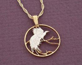 "Bird Of Paradise Pendant, Bird Of Paradise Jewelry, Bird Coin Jewelry, World Coin Jewelry, 3/4"" in diameter, ( # 299D )"