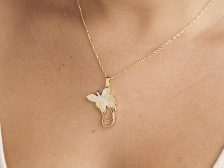 "Bird Of Paradise Pendant & Necklace, New Guinea Coin Hand Cut, 14 Karat Gold and Rhodium Plated, 1 1/4"" Diameter, ( # 249 )"