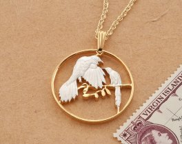 "Bird Pendant and Necklace, Belize Coin Jewelry, Tropical Bird Jewelry, World Coin Jewelry, 1"" in diameter, ( # 48D )"