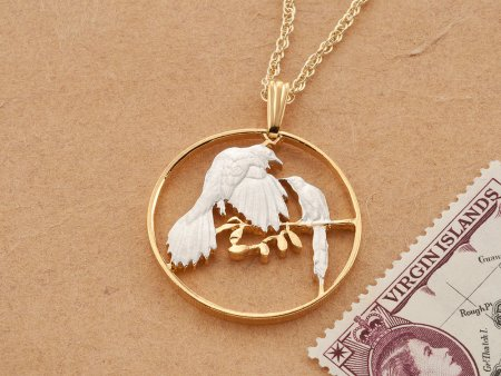 """Bird Pendant and Necklace, Belize Coin Jewelry, Tropical Bird Jewelry, World Coin Jewelry, 1"""" in diameter, ( # 48D )"""
