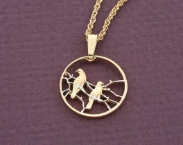 "Bird Pendant and Necklace, South African Coin Jewelry, Bird Jewelry, 3/4"" in diameter ( # 276D )"