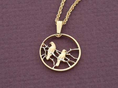 """Bird Pendant and Necklace, South African Coin Jewelry, Bird Jewelry, 3/4"""" in diameter ( # 276D )"""