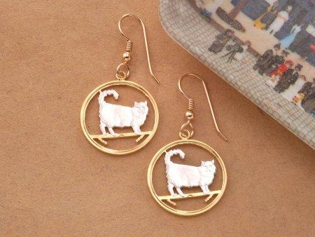 Birman Cat Earrings, Birman Cat Jewelry, Cat Lovers Gifts, Cat Lovers Jewelry, Earrings For Woman, Jewelry For Woman, Cut Coins, ( # 668E )