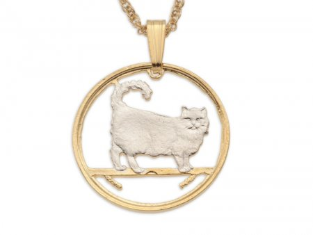 "Birman Cat Pendant and Necklace, Isle Of Man Cat Coin Hand Cut, 14 Karat Gold and Rhodium Plated, 7/8"" in Diameter, ( # 668 )"