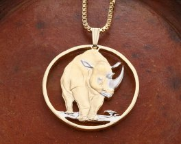 "Black Rhino Pendant and Necklace, Tanzania Rhino Coin Hand Cut, 14 Karat Gold and Rhodiumm plated, 1 1/4"" in Diameter, ( # 377 )"