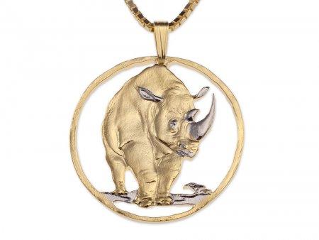 "Black Rhino Pendant and Necklace, Tanzania Rhino Coin Hand Cut, 14 Karat Gold and Rhodiumm plated, 1 1/4"" in Diameter, ( # 377 )"