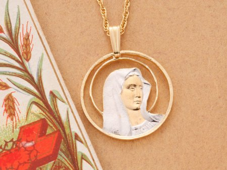 "Blessed Virgin Pendant and Necklace Jewelry, Blessed Virgin Medallion hand Cut, 14 Karat Gold and Rhodium Plated, 7/8"" in Diameter,( # 527 )"
