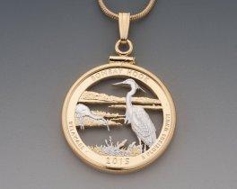 Blue Heron Pendant, Blue Heron Necklace, Blue Heron Jewelry, World Coin Jewelry, Bombay Hook , Bird Jewelry, Nature Jewelry, ( # 2052 )